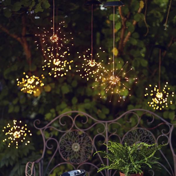 """LED Solar Gartendeko """"Firework"""" - 90 warmweiße LED - H: 45cm D: 26cm - Dämmerungssensor - hängend"""