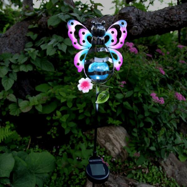 """LED Solarstab """"Schmetterling""""- bunt - weiße LED in Glaskugel - H: 85cm - Dämmerungssensor"""