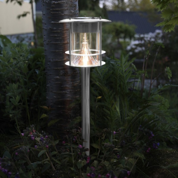 "LED Solar Wegleuchte ""Valencia"" - edelstahl - 6 warmweiße LED - H: 64,5"