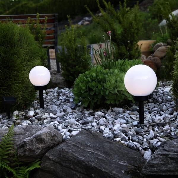 "LED Solar Gartenkugel ""Globus"" - Erdspieß - H: 35cm, D: 20cm - warmweiße LED"