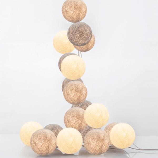 good moods* TILA 20 - Ball-Lichterkette mit 20 Stoffkugeln - 20 warmweiße LEDs - Geschenkkarton