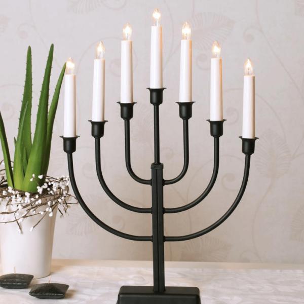 Kerzenleuchter KRISTINA - 7 Arme - warmweiße Lampen - H: 47cm - Schalter - Schwarz
