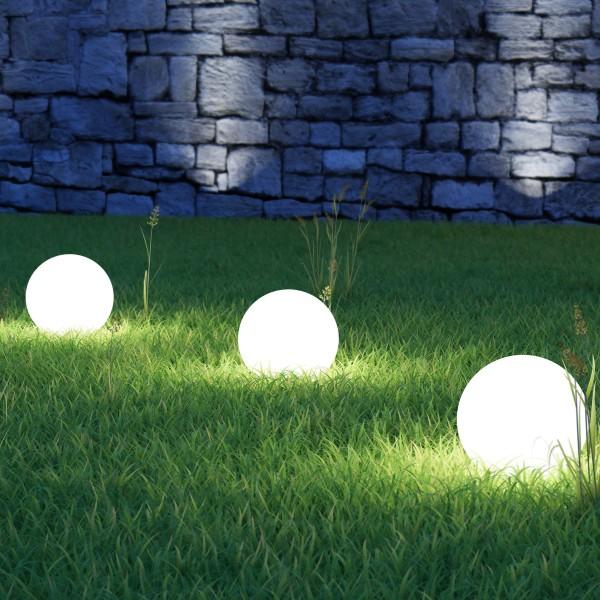 LED Solar Kugellampe - 2 warmweiße LED - H: 47cm D: 15cm - inkl. Erdspieß