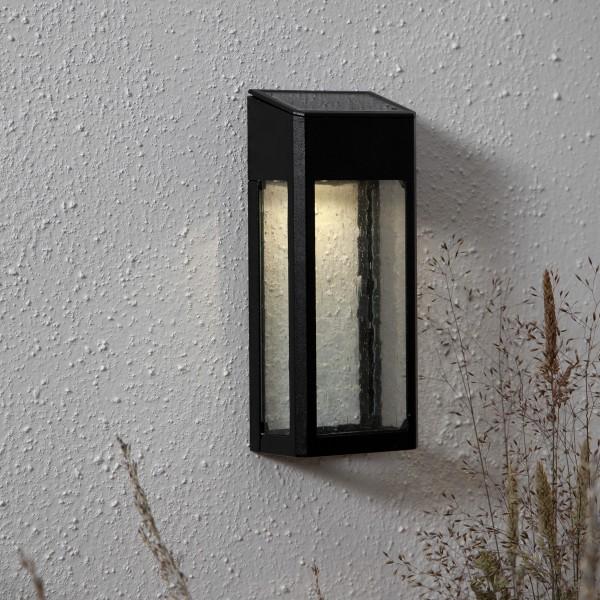 "LED Solar Wandleuchte ""Wally"" - Kunststoff - warmweiße LED - H: 20cm - Dämmerungssensor - schwarz"