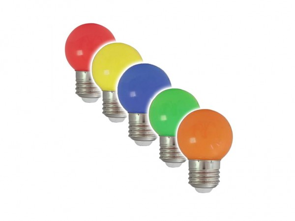 5er Set Partylampen - E27 - 230V - 1W - Rot/Grün/Blau/Gelb/Orange