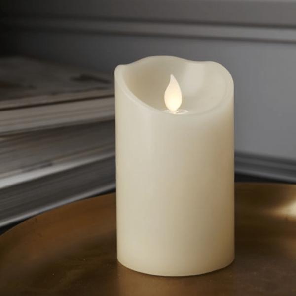 """LED Kerze """"M-Twinkle""""  - Echtwachs - mechanisch bewegte Flamme - Timer - H: 12,5cm - creme"""
