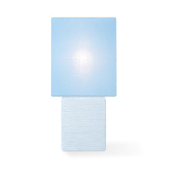 Tischleuchte mit Schirm CHARM quadratisch - pastellblau - E14 - 30cm