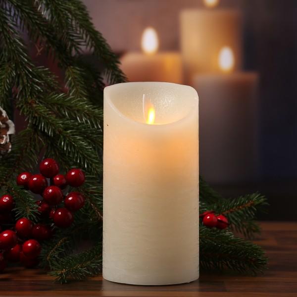 LED Kerze M-Twinkle - Echtwachs - bewegliche Flamme - Auspustfunktion - Timer - H: 15cm - creme