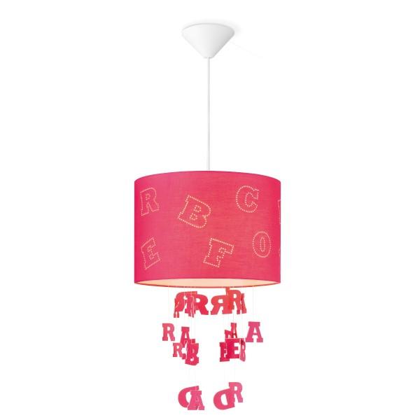Lampenschirm Buchstaben - Farbe: Fuchsie - 30cm Durchmesser - mit fliegenden Buchstaben