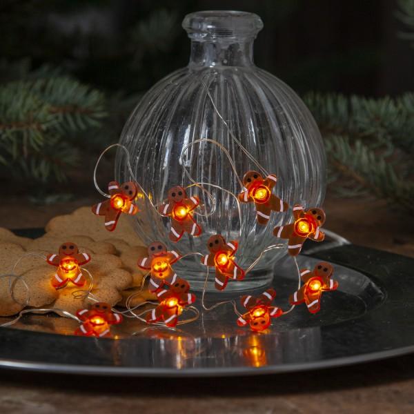 LED Lichterkette Dew Drop Lebkuchenmänner - 12 warmweiße LED -1,10m - Batterie - f. Innen - Braun