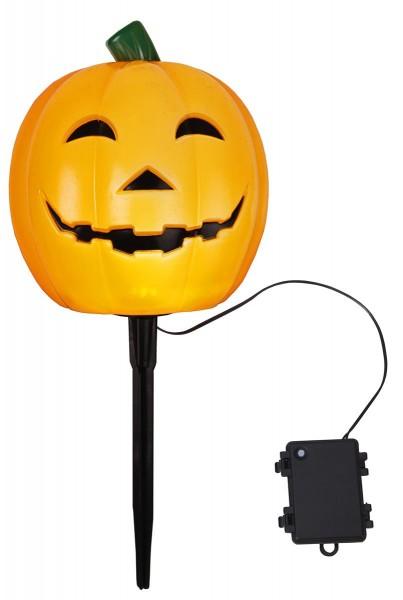 """LED-Halloweenleuchte Kürbis """"Halloween"""" ca. 18x20 cm, Farbe orange mit Erdspieß, Batterie, Timer outdoor, Vierfarb-Karton"""