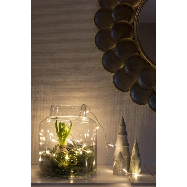 Micro LED Lichterkette - gefrostet - 50 bernsteinfarbene LED - L: 3,43m - transp. Kabel - Indoor