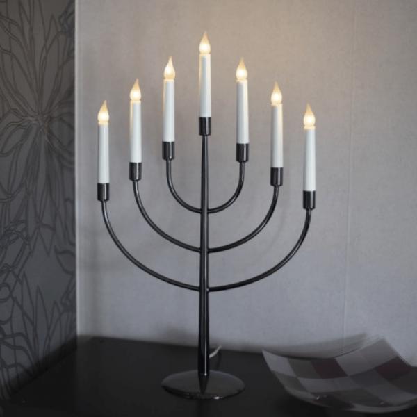 LED Kerzenleuchter TITUS - 7 Arme - warmweiße LEDs - H: 59cm - Schalter - Schwarz