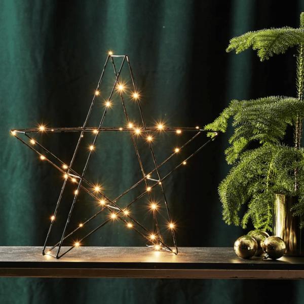 "LED-Metallstern ""Super"" - 50 warmweiße LEDs - stehend - H: 43cm, B: 45cm - schwarz"