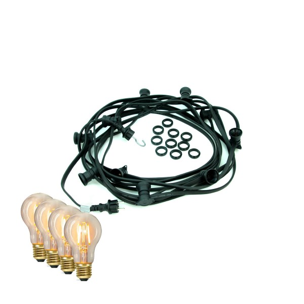 ILLU-Lichterkette BLACKY - 5m - 5xE27 | IP44 | warmweiße EDISON LED Filamentlampen | SATISFIRE