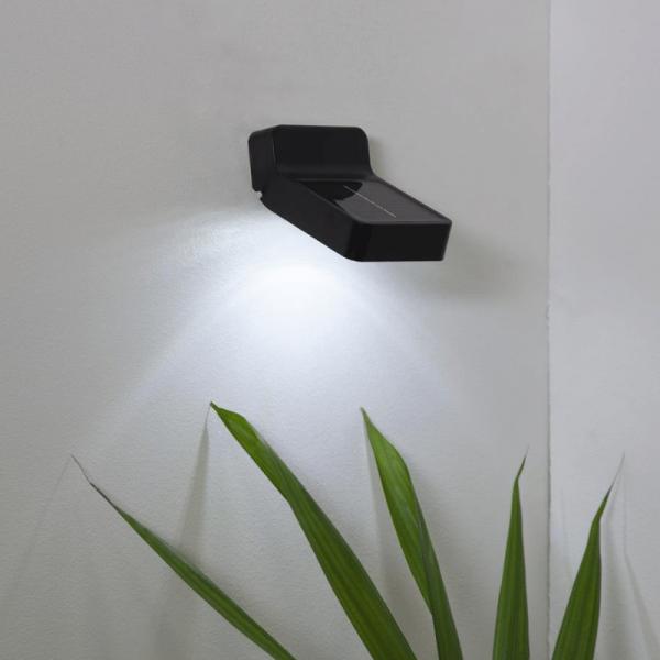 """LED Solar Wandleuchte """"Wally"""" - 4 weiße LED - 6h Licht mit 6lm - Dämmerungssensor - schwarz"""