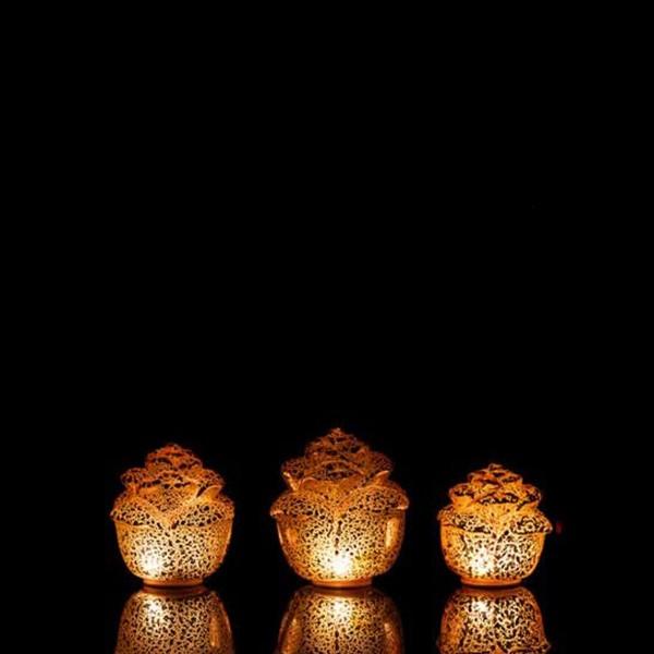 LED Dekoleuchte Rose - Timer - 3er Set - Rosa
