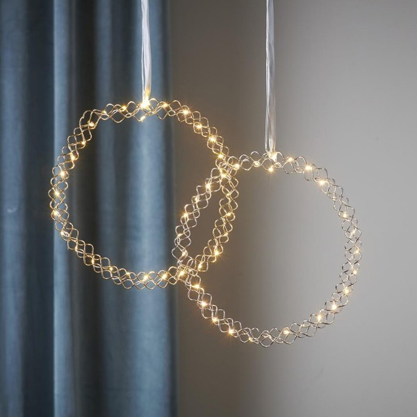 """LED Kranz """"Hoop"""" - 30 warmweiße LED - D: 30cm - Material: Metall - Batteriebetrieb - Timer - gold"""