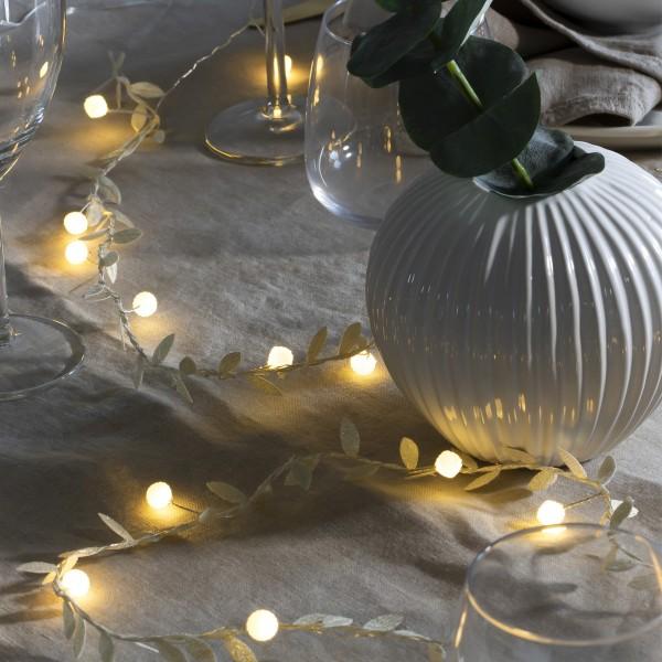 LED Lichterkette Perlen mit goldenen Blättern - 20 warmweiße LED - Batterie - Timer - L: 1,90m