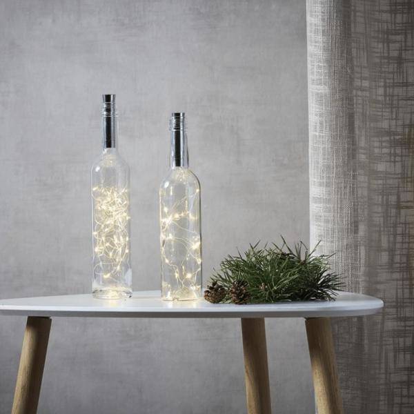 """LED Drahtlichterkette """"Korken"""" - Flaschenverschluss - 15 warmweiße LED - 0,75m - Timer - silber"""