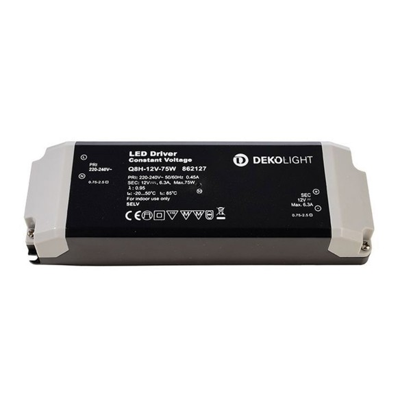 Kapego Netzgerät BASIC - 12V 75W 6,3A - schwarz - kurzschluss- überlastfest - Thermo - 184x61x32mm
